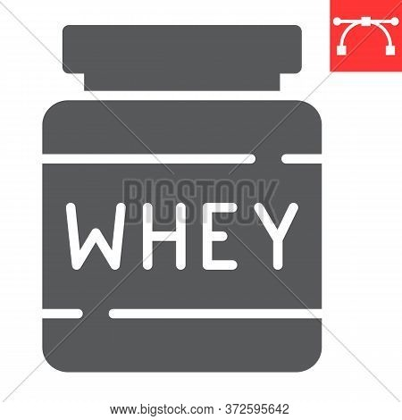 Whey Protein Glyph Icon, Fitness And Diet, Supplements Sign Vector Graphics, Editable Stroke Solid I