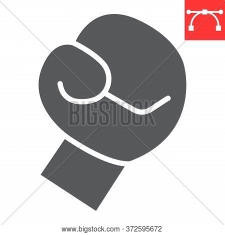 Boxing Glove Glyph Icon, Fitness And Sport, Boxing Sign Vector Graphics, Editable Stroke Solid Icon,
