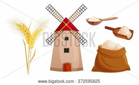 Set Vector Flat Color Icon For Menu Bakery Shop. Windmill, Ear Of Wheat, Sack And Scoop With Flour.
