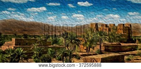 Mud-built Village With Old Kasbah In Ruins And Palm Trees On Hilly Landscape Near Ouarzazate. Mainly