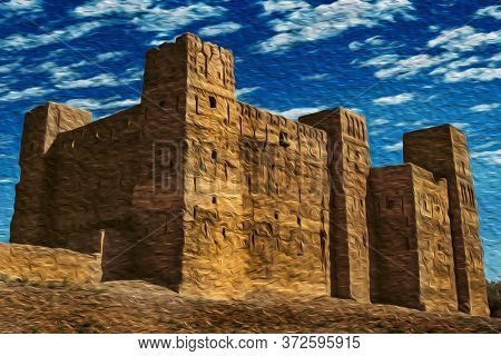 Frontage Of An Old Kasbah In Ruins, A Fortress Palace Mud-built Near The Village Of Ouarzazate. Main