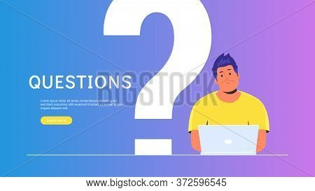 Upset And Bored Teenager Sitting With Laptop And Big Question Symbol Behind. Flat Vector Illustratio