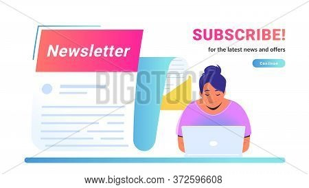 Newsletter Subcription For The Latest News And Offers. Vector Illustration Of Cute Woman Sitting Alo