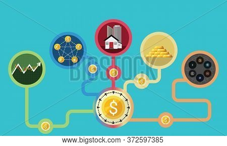 Business Financial Growth Concept. Illustrations Of Diversification. Do Not Put All Savings Money In