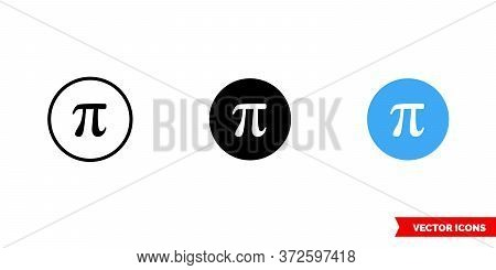 Pi Symbol Icon Of 3 Types. Isolated Vector Sign Symbol.