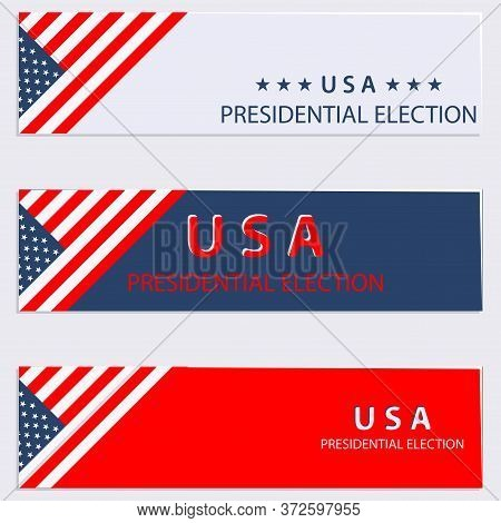 Set Header Banner Presidential Choice United States Of America Vector.