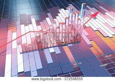 Growing Arrow Of Economical Data, Financial Statistic, 3D Rendering.