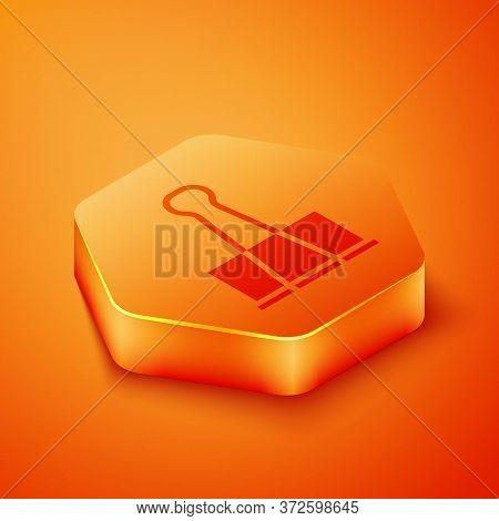 Isometric Binder Clip Icon Isolated On Orange Background. Paper Clip. Orange Hexagon Button. Vector