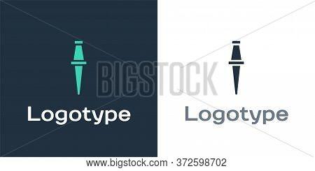 Logotype Push Pin Icon Isolated On White Background. Thumbtacks Sign. Logo Design Template Element.