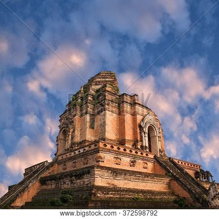 Exterior Of The Wat Chedi Luang, Famous Ancient Ruined Temple In Chiang Mai, Northern Thailand