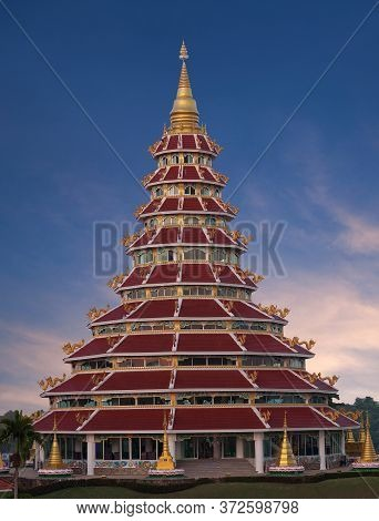 Buddhist Chedi (pagoda) In Chinese Style At Wat Huay Pla Kang, Known As Big Buddha Temple On Sunset