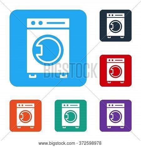 White Washer Icon Isolated On White Background. Washing Machine Icon. Clothes Washer - Laundry Machi