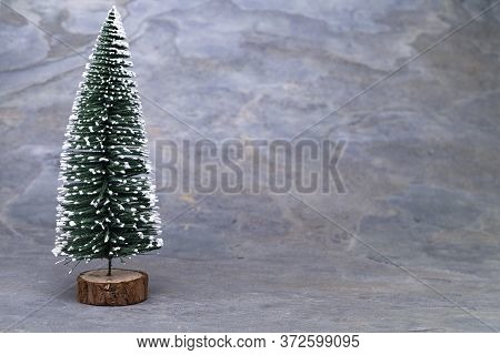 The Image Shows A Model Tree On Grey Slate