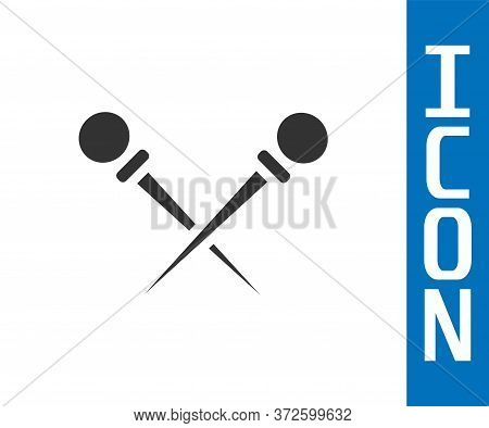 Grey Knitting Needles Icon Isolated On White Background. Label For Hand Made, Knitting Or Tailor Sho