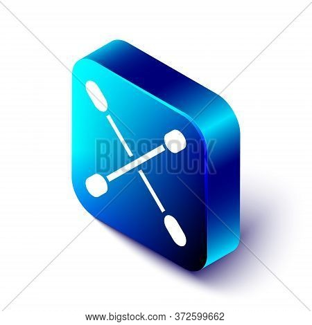 Isometric Cotton Swab For Ears Icon Isolated On White Background. Blue Square Button. Vector Illustr