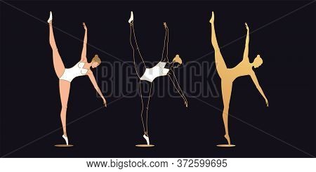 Golden Ballerina Woman In Outline Style. Set Of Silhouette, Ballet Dancer Stands On One Leg, Lift Up