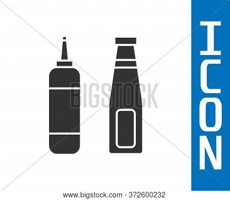 Grey Sauce Bottle Icon Isolated On White Background. Ketchup, Mustard And Mayonnaise Bottles With Sa