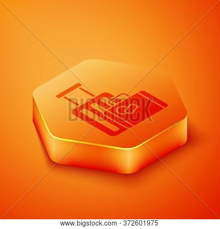 Isometric Suitcase For Travel Icon Isolated On Orange Background. Traveling Baggage Sign. Travel Lug