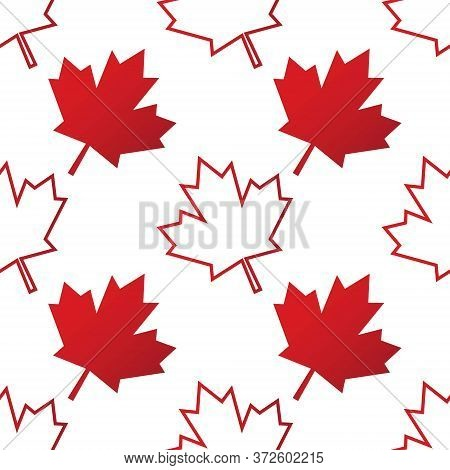 Seamless Pattern Background With Canadian Maple Leaf. Template For Background, Banner, Card, Poster.