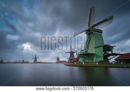Zaanse Schans In Zaandam City. Museum Village In Netherlands (holland)