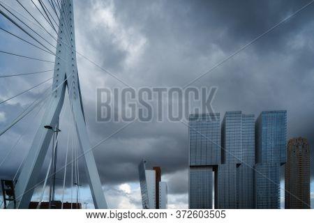Rotterdam City Skyline Cityscape, Netherland (holland). View Of Downtown And Erasmus Bridge