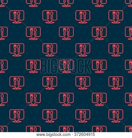 Red Line Cafe And Restaurant Location Icon Isolated Seamless Pattern On Black Background. Fork And S