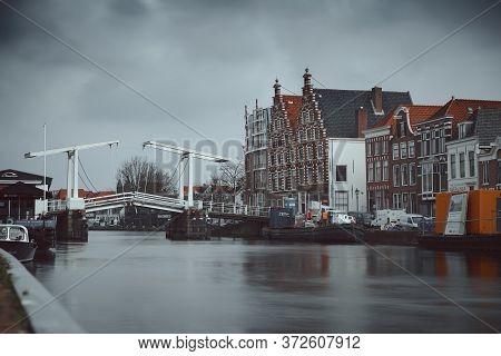 Haarlem, Netherlands - March 6, 2020: Gravestenebrug Bridge In Haarlem City Center Old Town