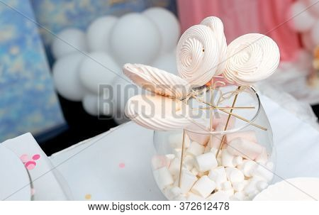 Homemade Candies Meringue On Stick Meringue Candy On Wooden Stick In Vase On Party