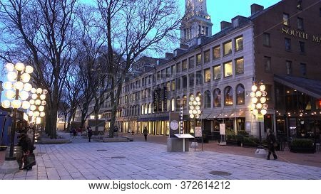 Beautiful Boston Downtown In The Evening - Boston, United States - April 5, 2017
