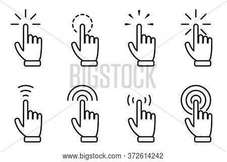 Pointer Hand Click Icon Set. Website Clicking Cursor, Finger Arrows With Click Effect. Web Interface