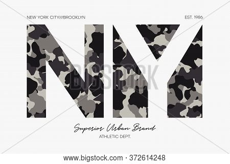 New York, Ny T-shirt Design With Camouflage Texture. Brooklyn Typography Graphics For Tee Shirt, Sup