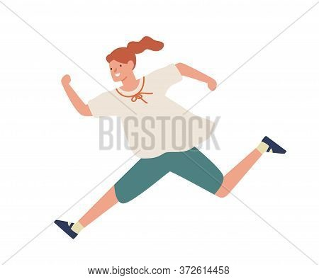 Smiling Casual Girl Running Fast Vector Flat Illustration. Happy Young Teenage Female Hurry Or Haste