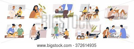 Different Situation Of Pets Life Set Vector Flat Illustration. Owners With Their Domestic Animals -