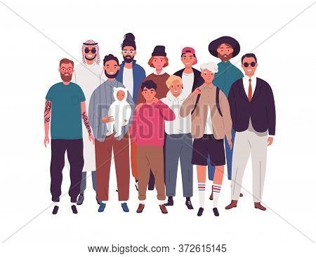 Group Of Happy Diverse Man, Teenager And Boy Standing Together Vector Flat Illustration. Crowd Of Mu