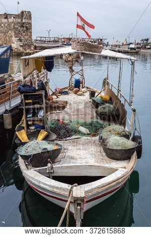 Fishboat In A Marina Of Byblos, Lebanon, One Of The Oldest City In The World