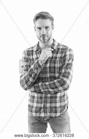 Expressing True Sense Of Personal Style. Modern Look For Man. Handsome Man Isolated On White. Man In