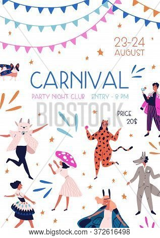 Carnival Party At Night Club Promo Poster With Decorative Design Elements Vector Flat Illustration.