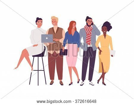 Group Of Different Smiling Young Employee Of Multinational Company Vector Flat Illustration. Happy D