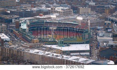 Boston Fenway Park Stadium - Aerial View - Boston. Usa - April 5, 2017