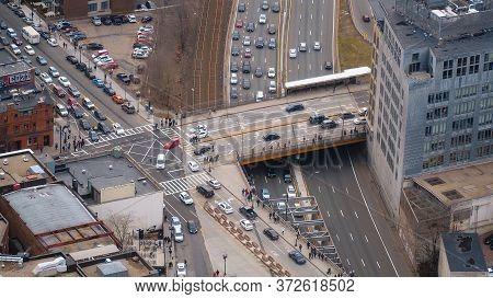 Street Crossing In Boston - Aerial View - Boston. Usa - April 5, 2017
