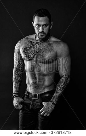 Sport Is Life. Sportsman With Muscular Chest And Belly. Masculinity And Brutality Concept. Men With