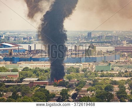 Friday June 19, 2020, Hamilton, Ontario, Canada. Former Site Of Mr. Used Destroyed By Fire In East H