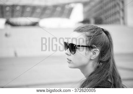 Must Visit Places Check List. Sightseeing Tour. Girl Tourist Sunglasses Enjoy City Center. Woman Urb