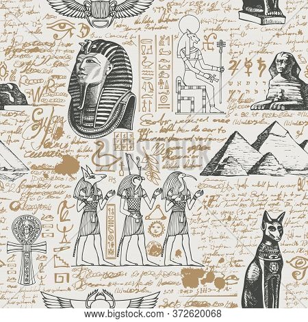 Ancient Egypt Seamless Pattern With Hand-drawn Egyptian Gods And Unreadable Scribbles In Retro Style