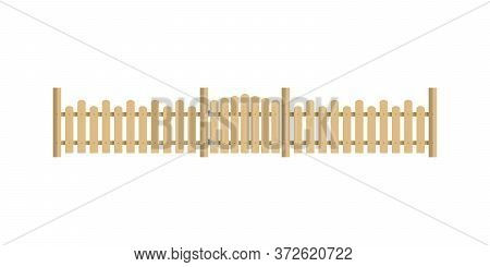 Wooden Fence With Gate. Garden Fence Isolated On White Background. Vector Illustration In Flat Style