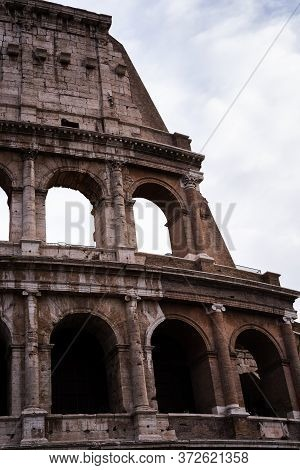 Missing Arches Of The Huge Coliseum In Rome, Italy