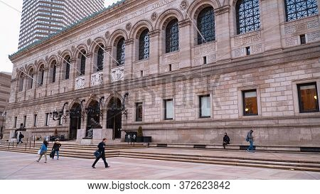 The Boston Public Library - Boston. Usa - April 5, 2017