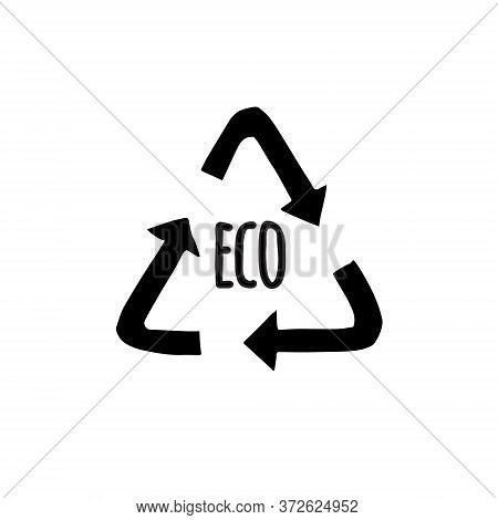 Vector Hand Drawn Doodle Sketch Black Recycle Reuse Eco Symbol Isolated On White Background