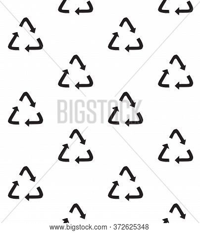 Vector Seamless Pattern Of Black Hand Drawn Doodle Sketch Recycle Reuse Eco Symbol Isolated On White