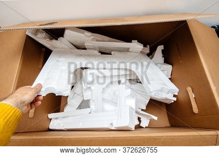 Man Hand Holding Multiple Waste Inside Cardboard Containing Polystyrene The Synthetic Aromatic Hydro